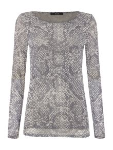 Long sleeve snakeskin print top