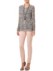 Oui Long sleeve snakeskin print top
