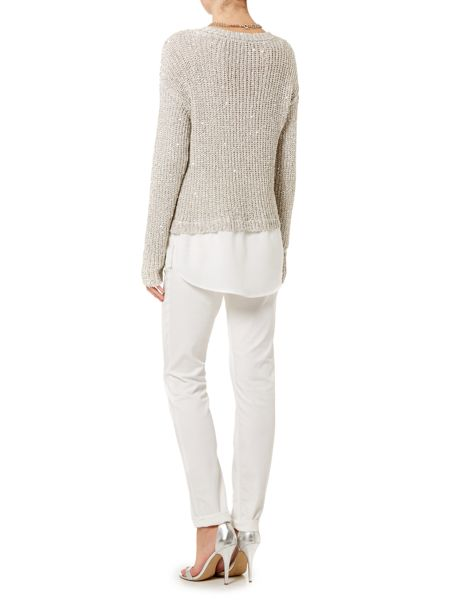 Oui Long sleeve layer sequin jumper