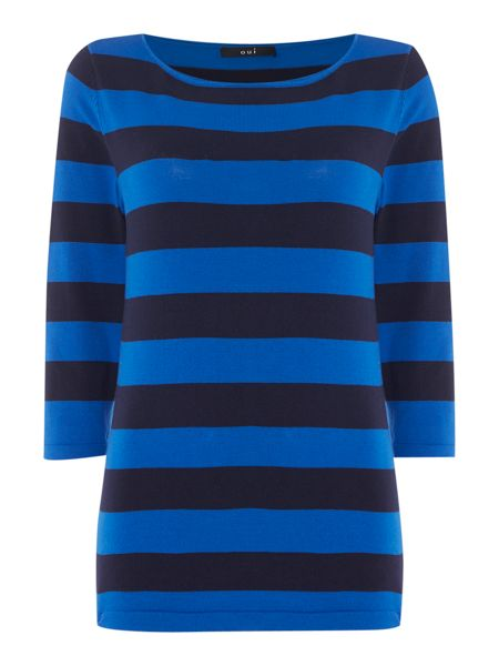 Oui Three quarter sleeve stripe jumper
