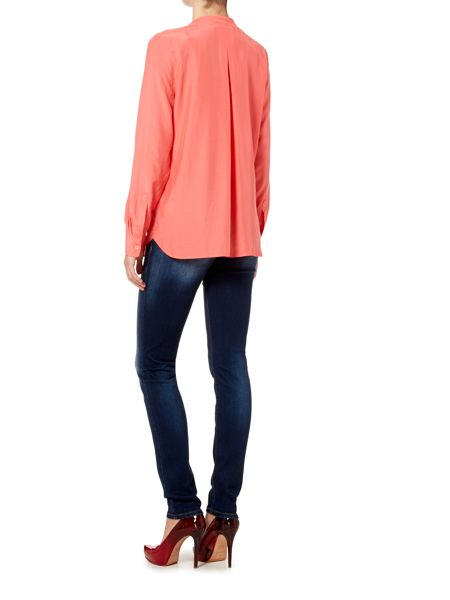 Oui Long sleeve collarless blouse