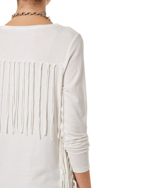Oui Long sleeve round neck fringed sides