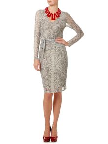 Snakeskin print mesh ruched long sleeve dress