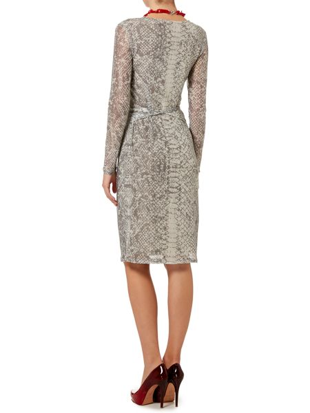 Oui Snakeskin print mesh ruched long sleeve dress