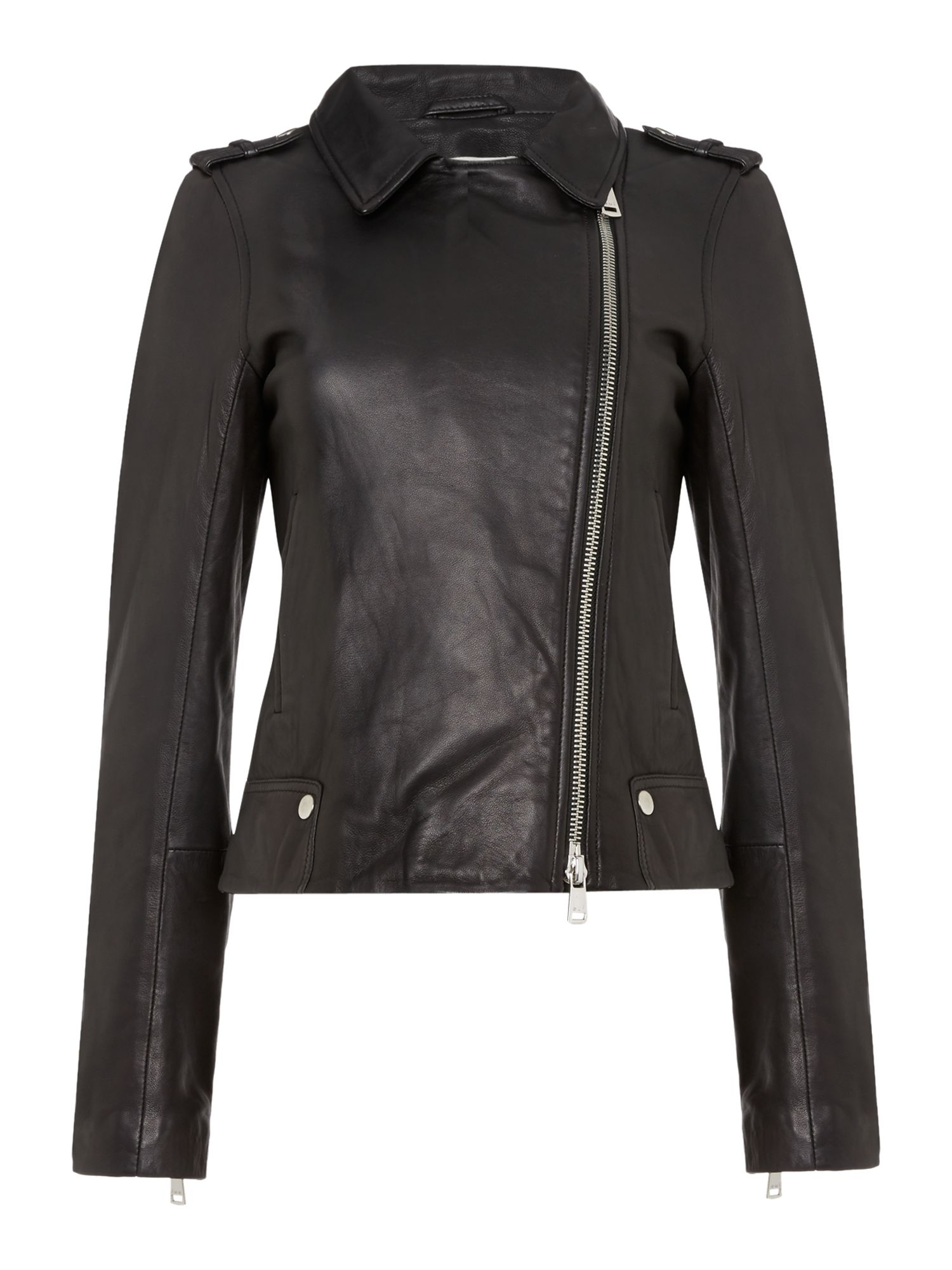 Oui Leather Jacket, Black