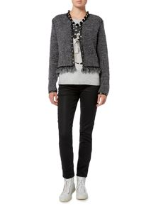 Oui Boucle Knitted Jacket with Leather Trim