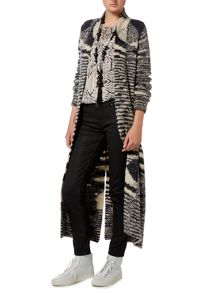 Oui Long Striped Cardigan