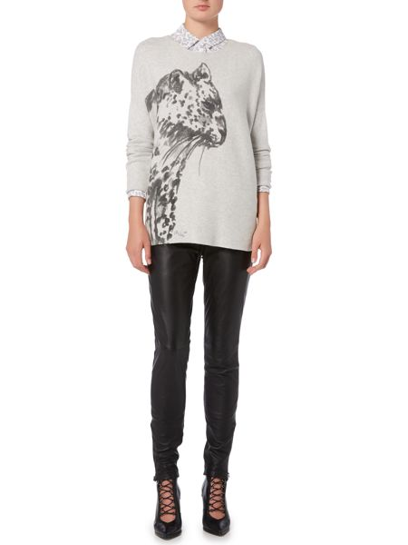 Oui Big cat print sweater