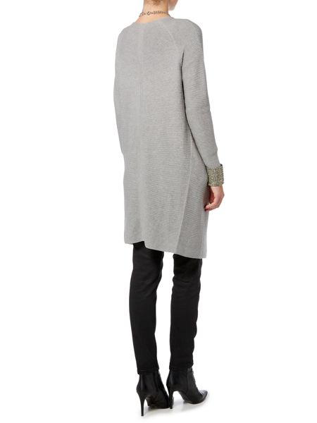 Oui Long ribbed cardigan