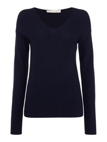 Oui V neck ribbed sweater