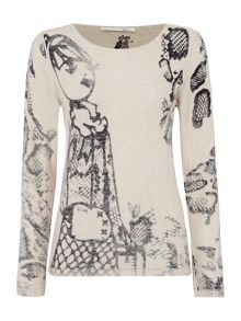 Oui Printed lady sweater