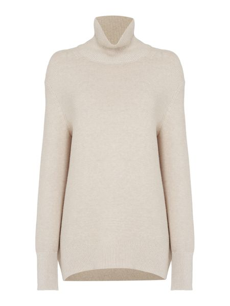 Oui Ribbed roll neck jumper