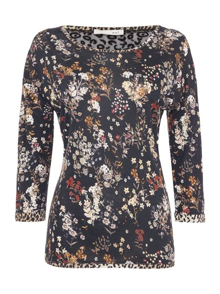 Oui Long sleeved flower t-shirt