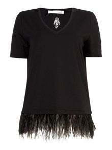 Oui Feather trim t-shirt