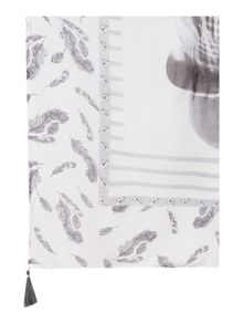 Oui Feather print scarf
