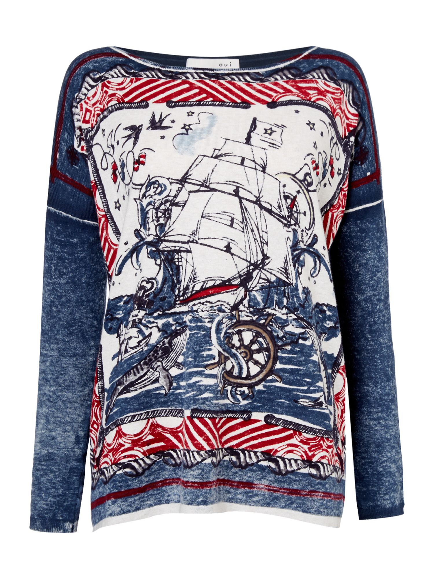 Oui Long sleeve ship print tee, Multi-Coloured