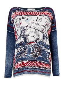 Oui Long sleeve ship print tee