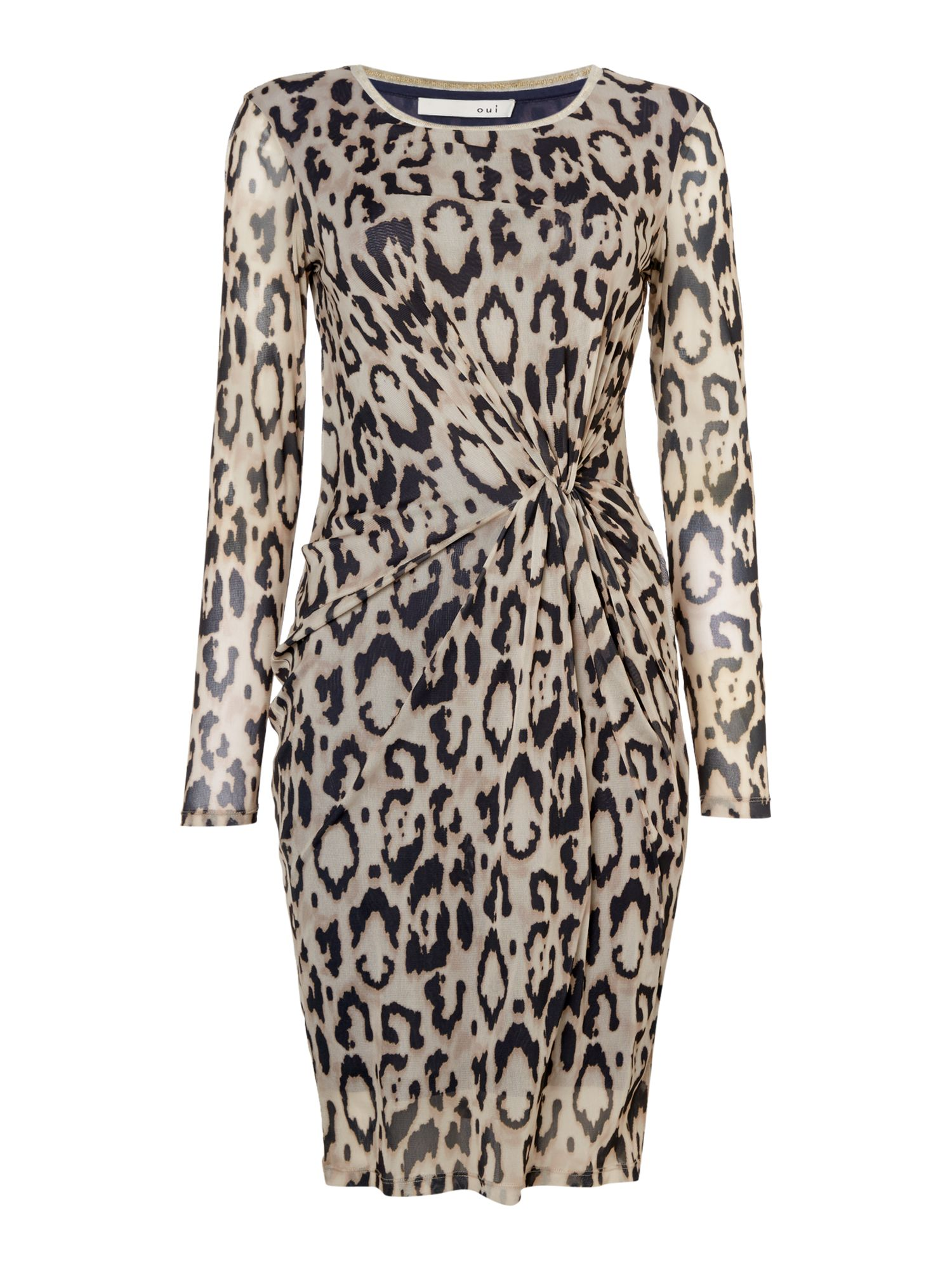 Oui Leopard print bodycon dress, Multi-Coloured