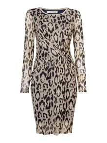 Oui Leopard print bodycon dress