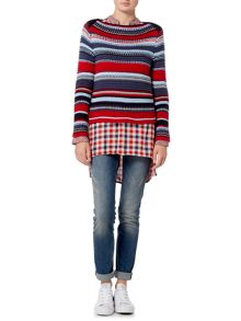 Oui Chunky multi-stripe jumper