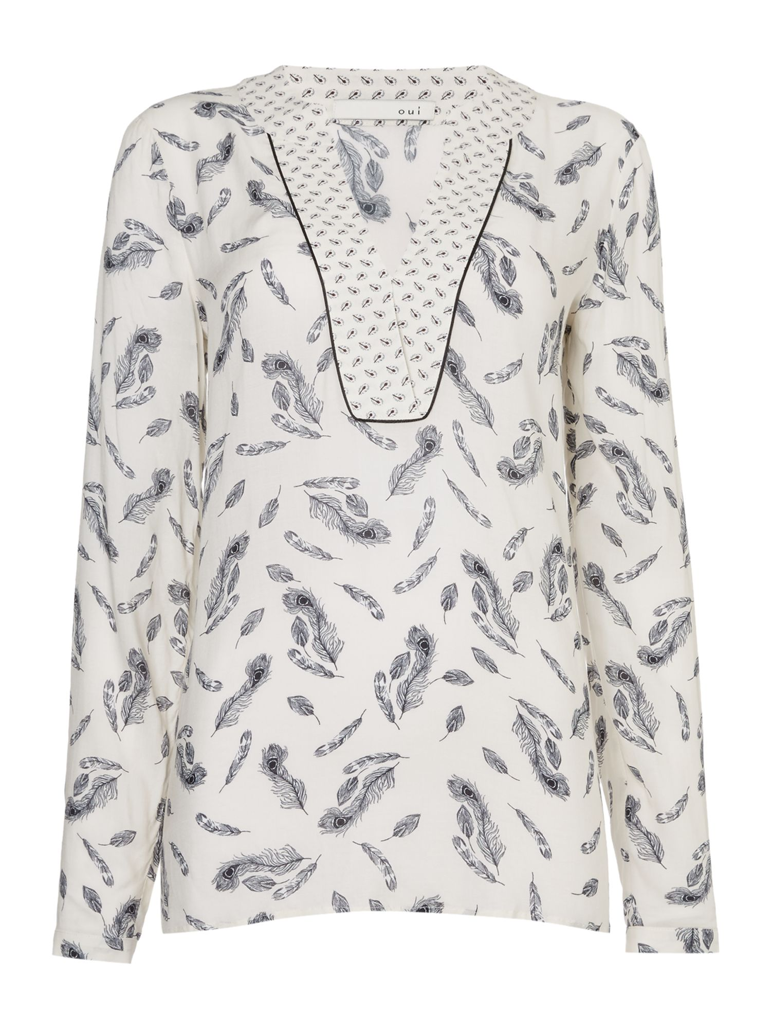 Oui Feather print blouse, Off White