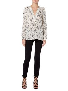 Oui Feather print blouse