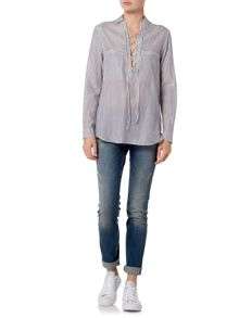 Oui Lace up stripe shirt
