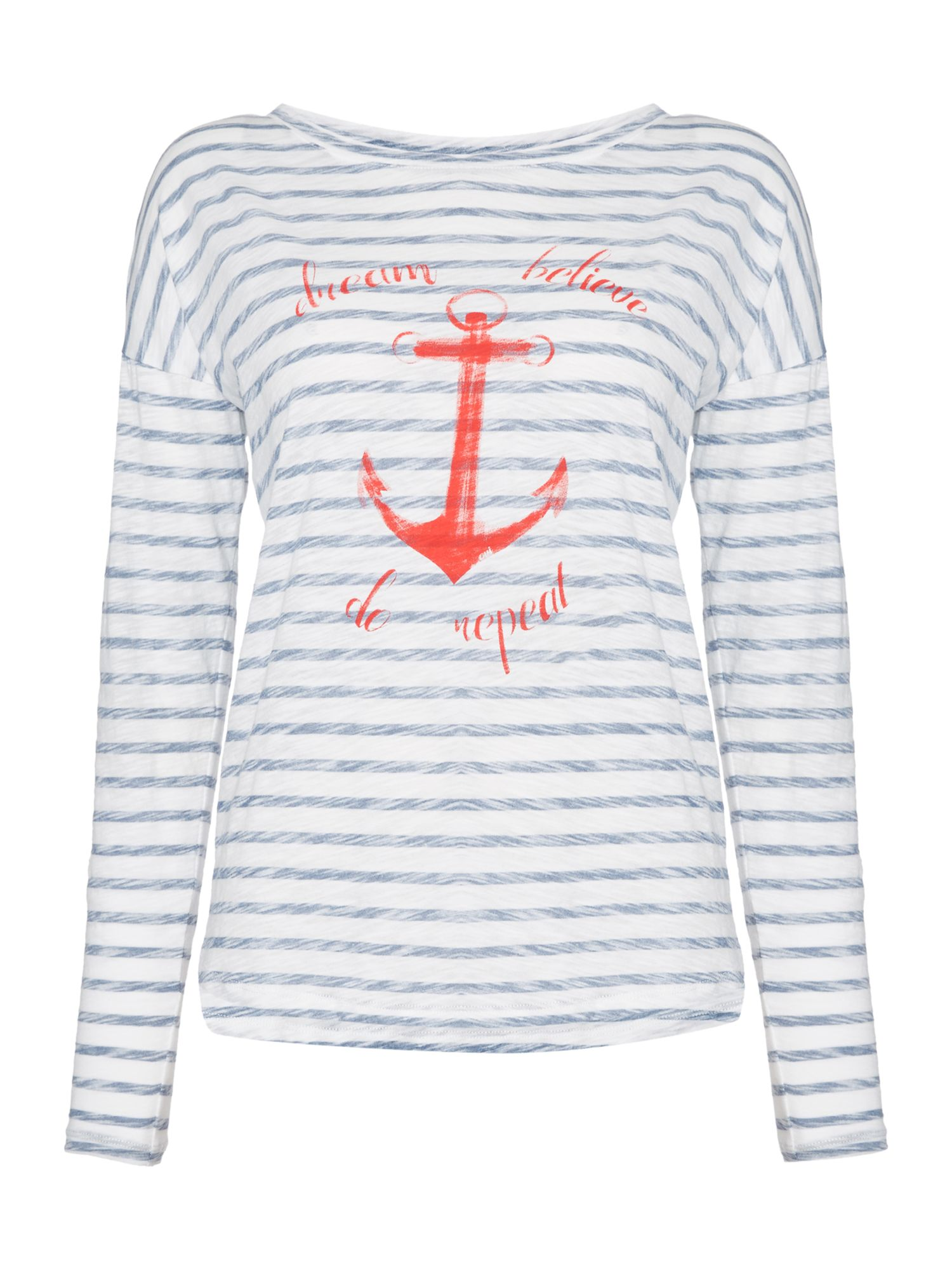 Oui Stripe anchor tee, Multi-Coloured