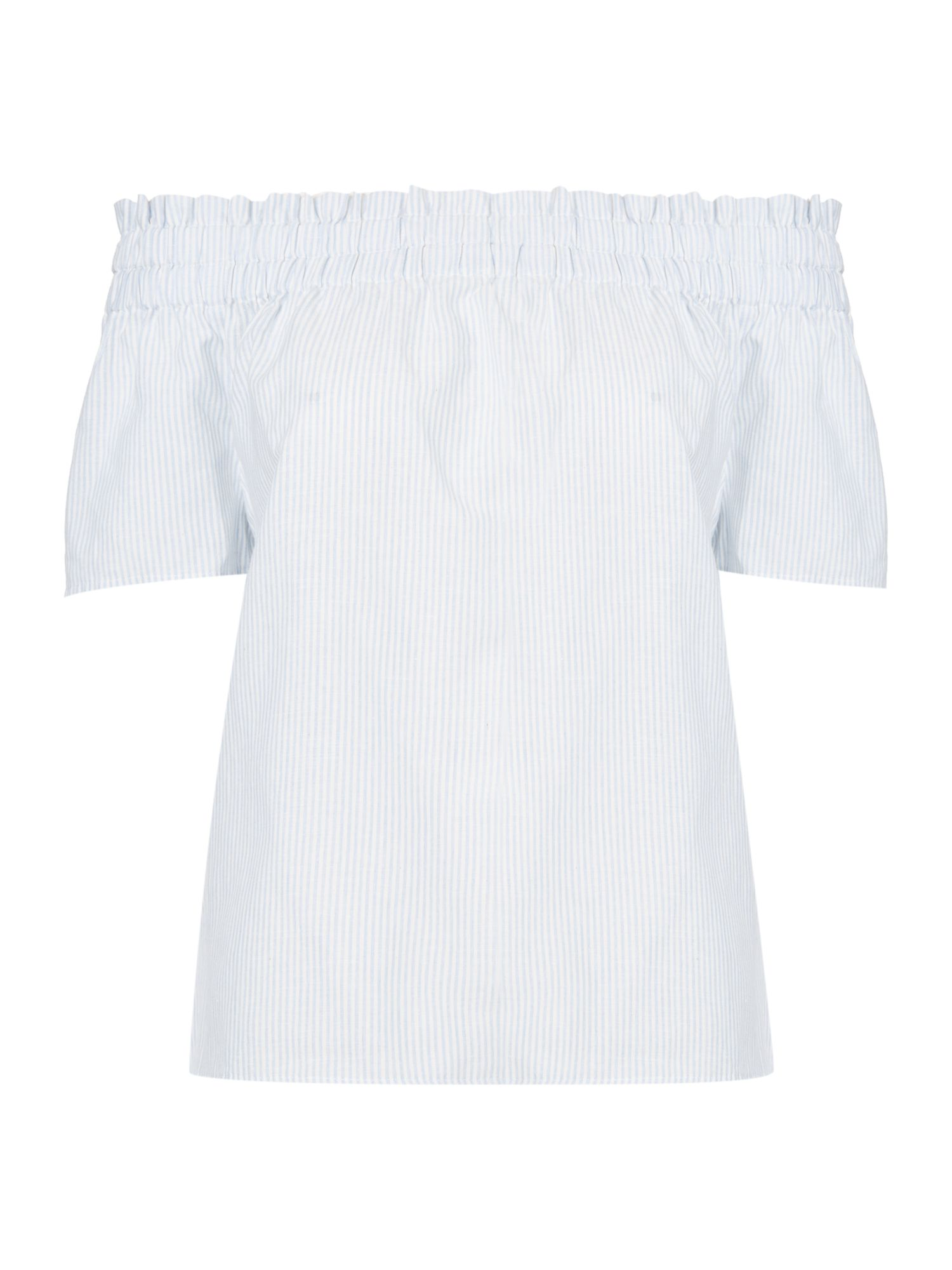Oui Stripe bardot top, Light Blue
