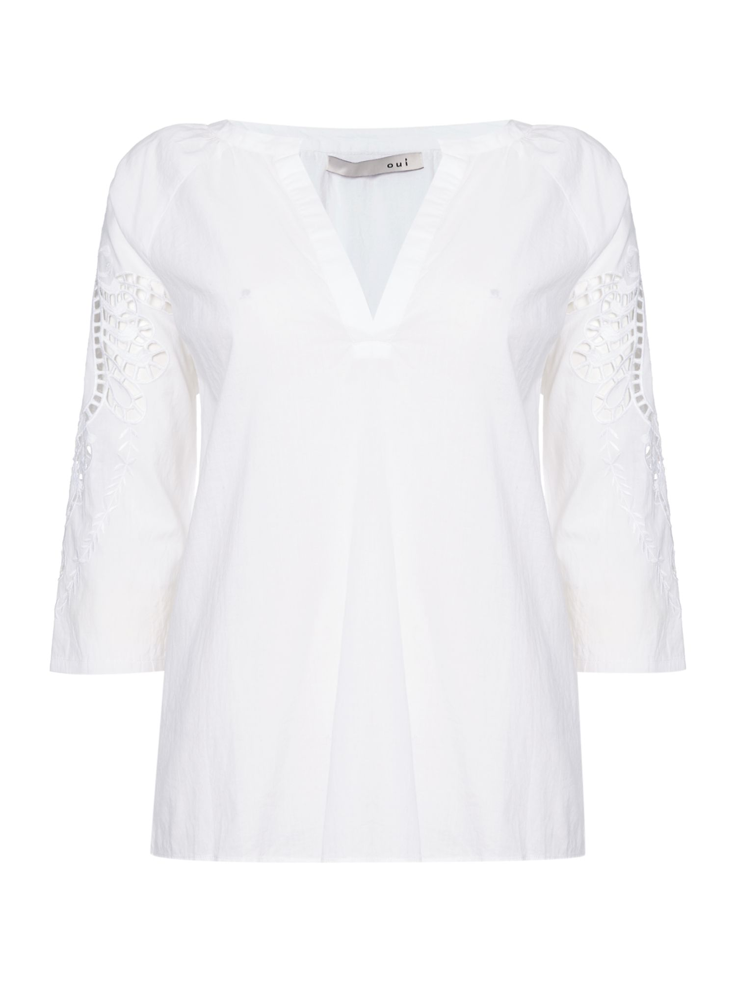 Oui Embroidered sleeve woven blouse, White