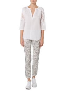Oui Embroidered sleeve woven blouse