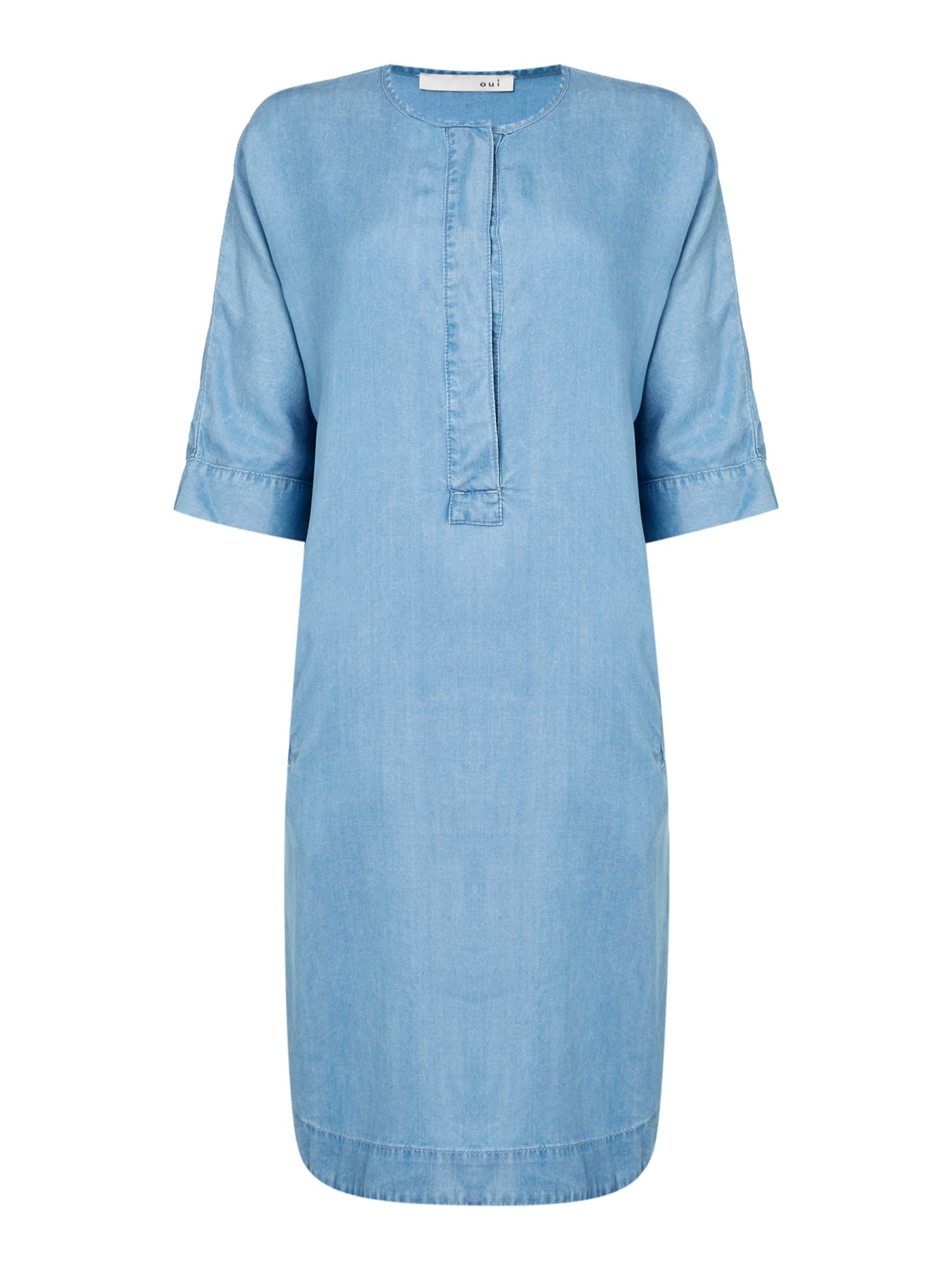 Oui Denim dress with short sleeves and button front, Blue