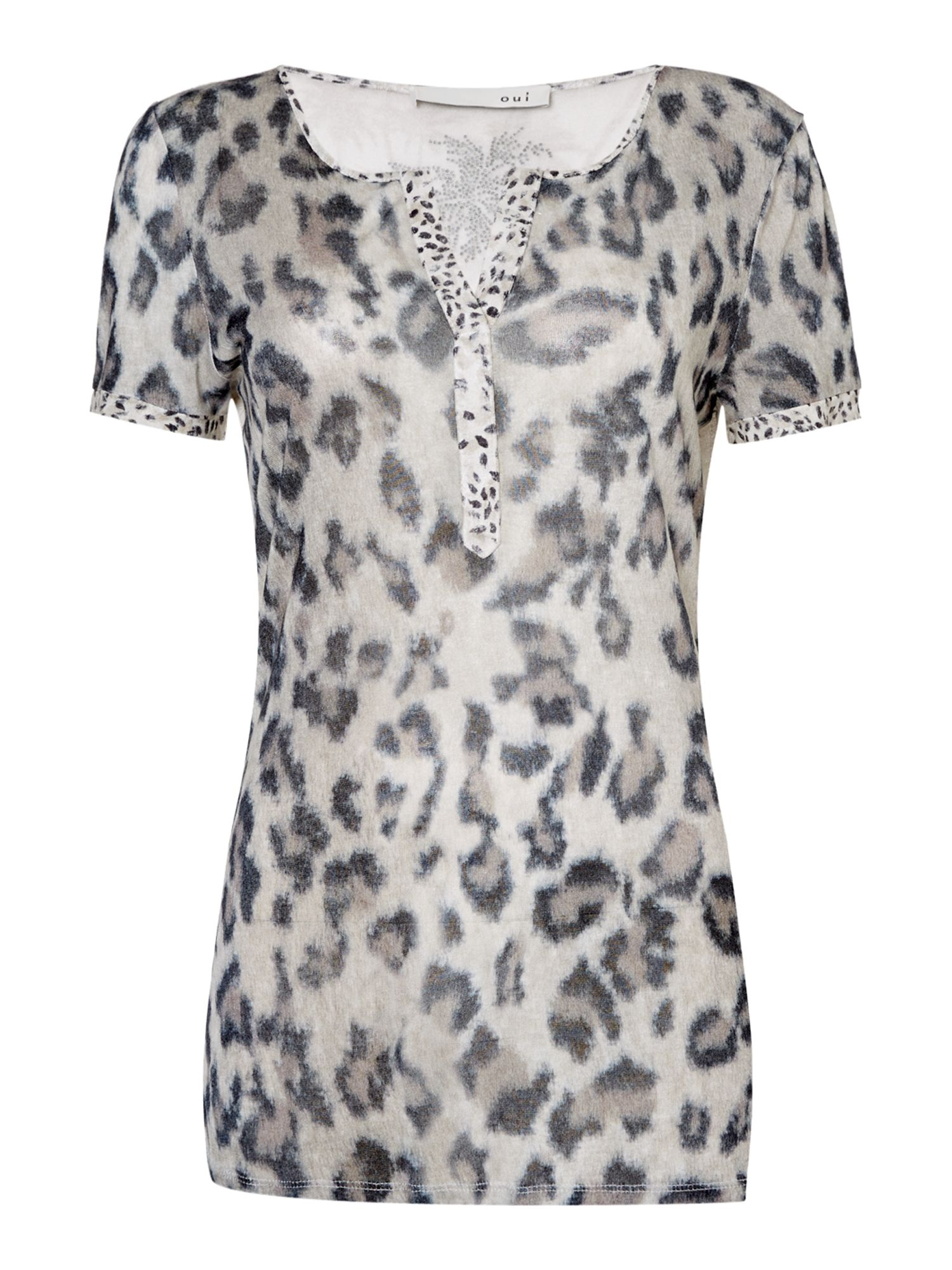 Oui V neck animal print tshirt Camel