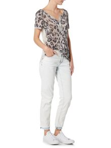 Oui V neck animal print t-shirt