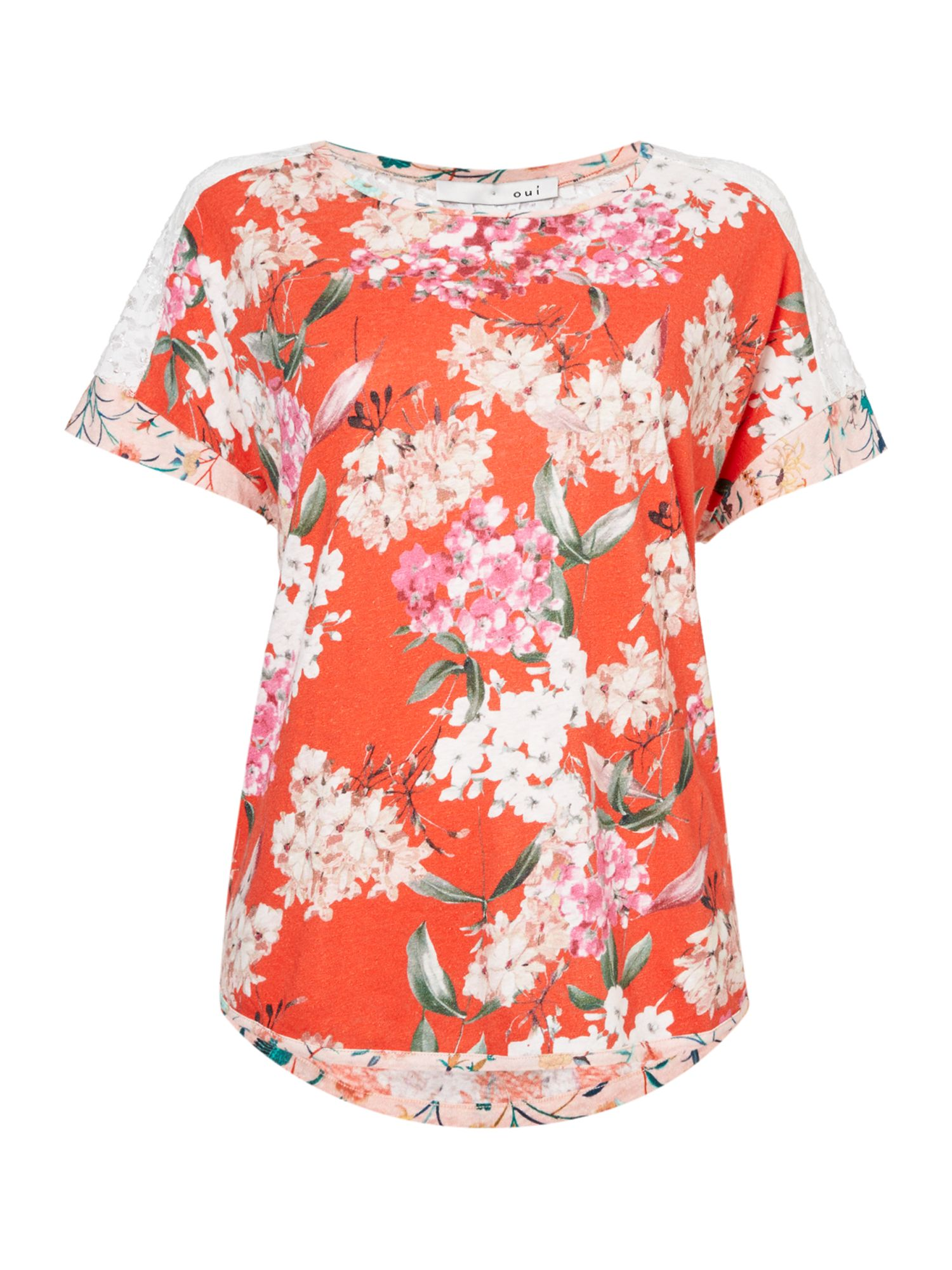 Oui Floral and lace t-shirt, Red