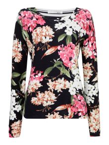 Oui Floral front stripe back jumper