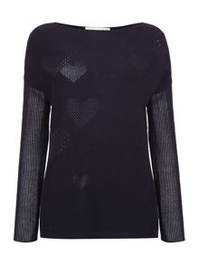 Oui Ribbed hart jumper