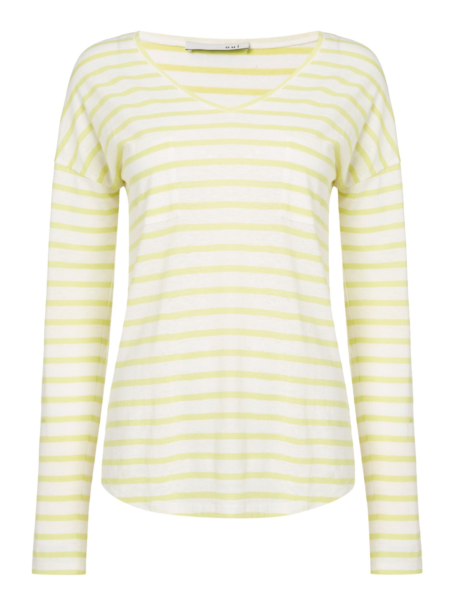Oui Stripe t-shirt with pocket, Yellow