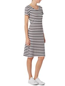 Oui Striped short sleeve round neck dress