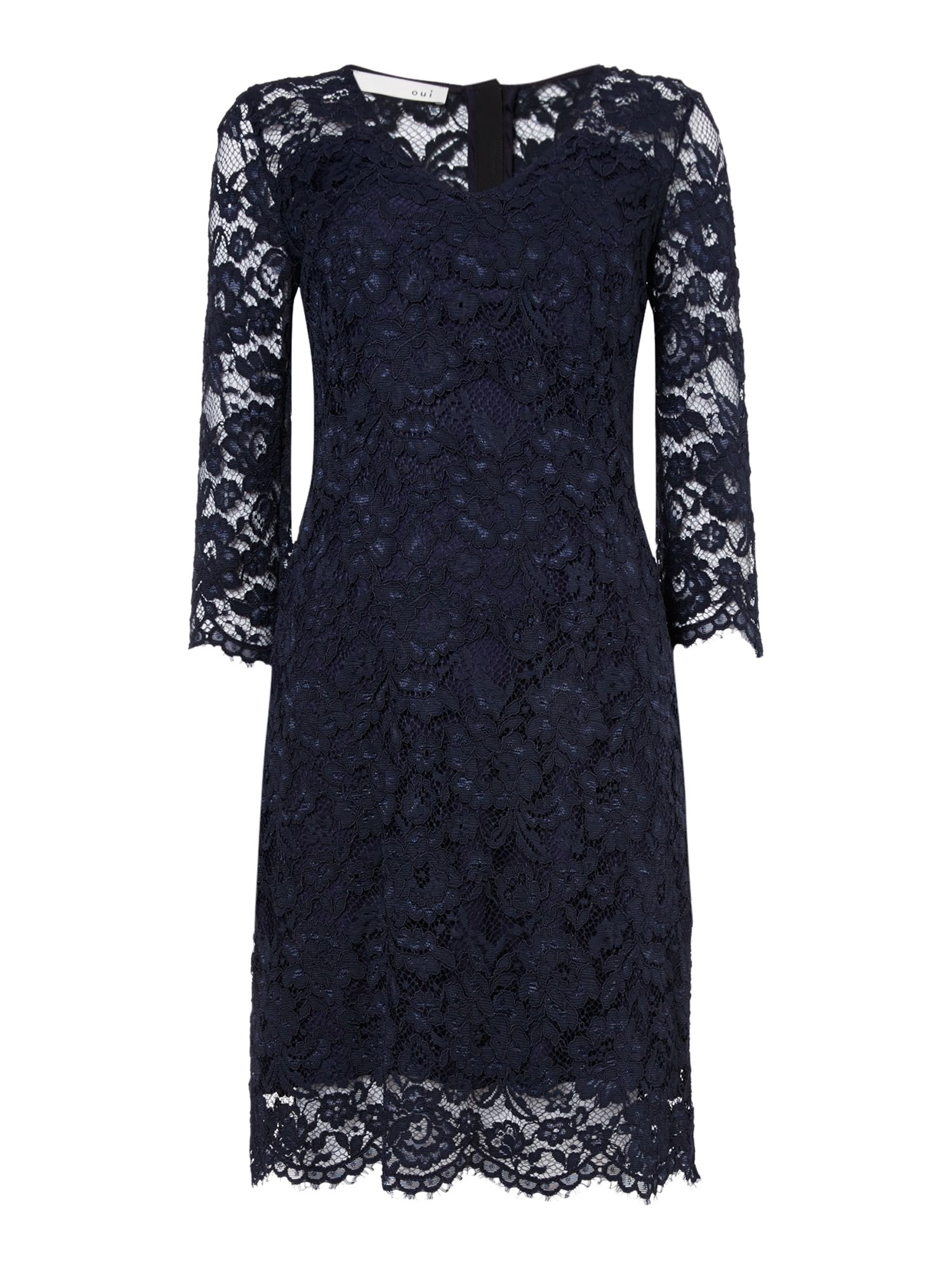 Oui V-neck lace dress, Blue
