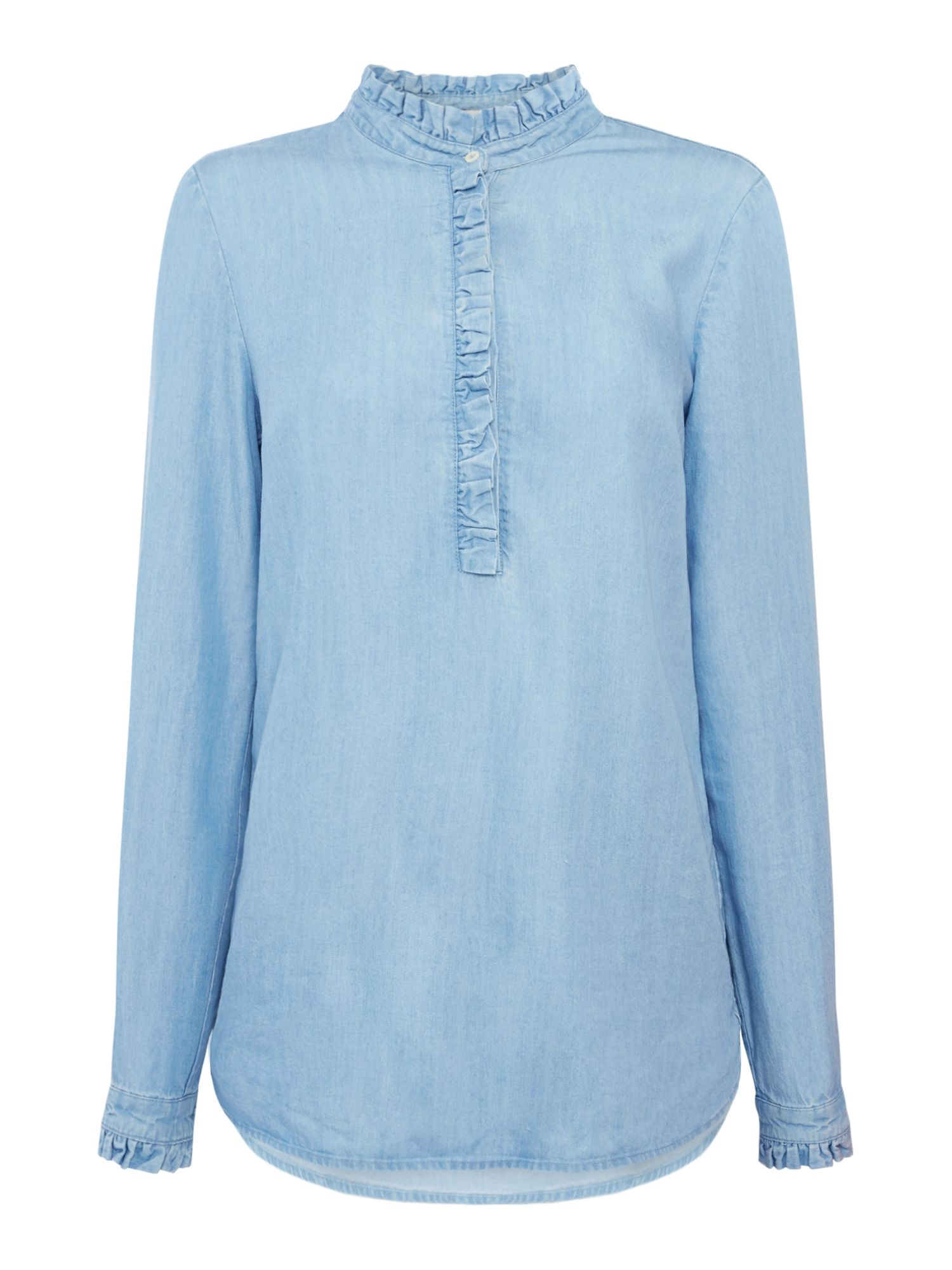 Oui Denim blouse with frill, Multi-Coloured
