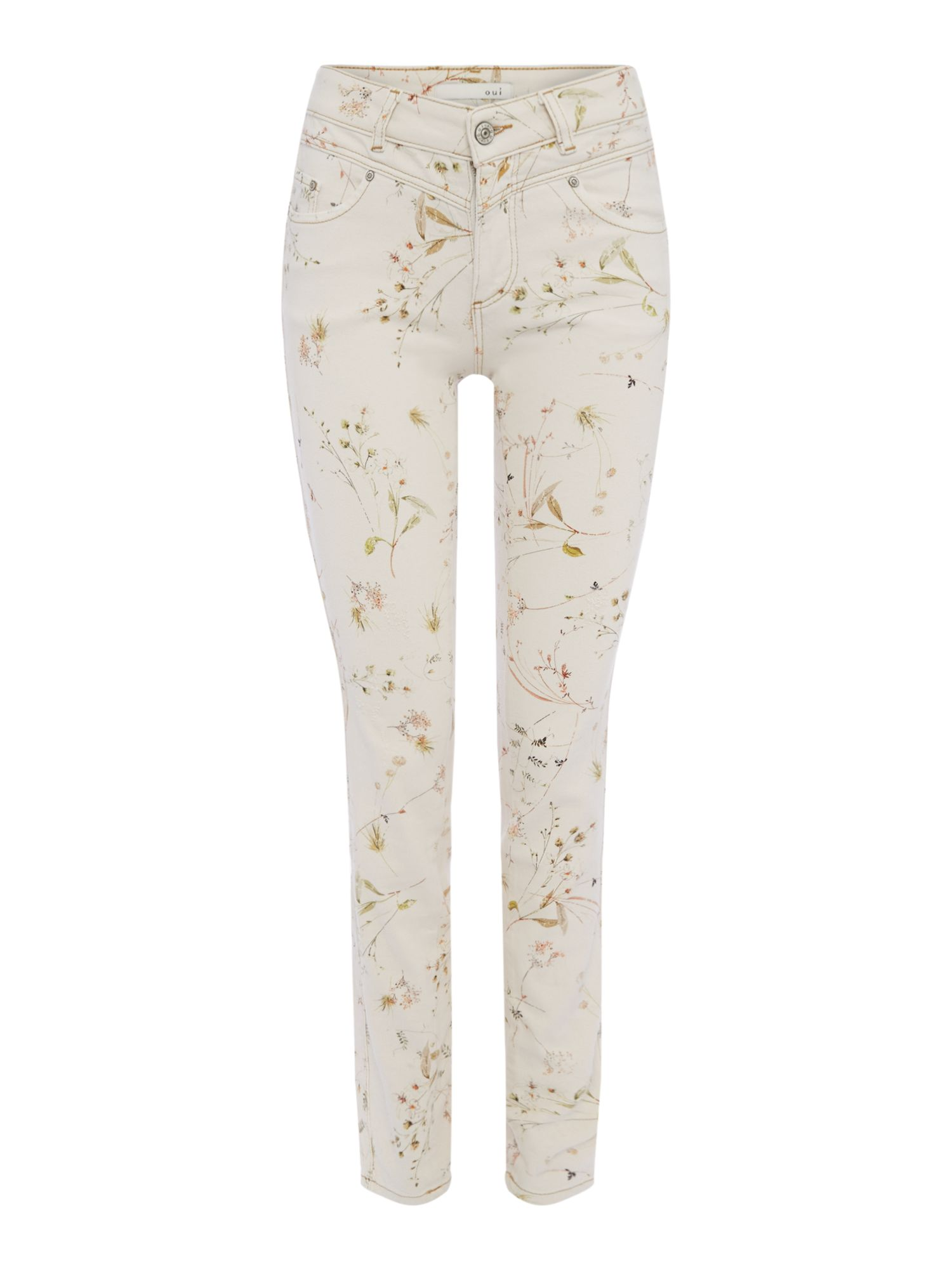 Oui Botanical print jean, Off White