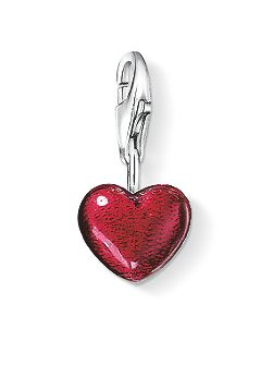 Charm Club Red Silver Heart