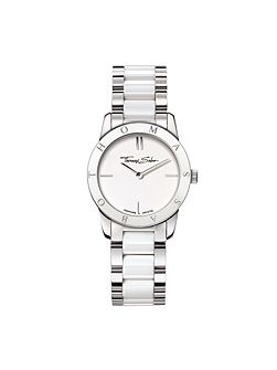 Classic Stainless Steel & White Ceramic Watch