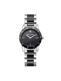 Classic Stainless Steel & Black Ceramic Watch