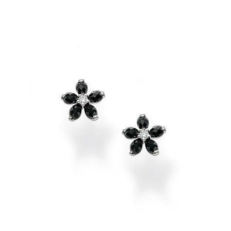 Classic Black Flower Ear Studs