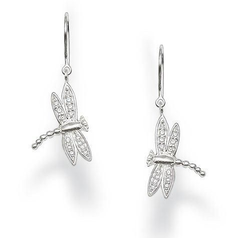 Seasonal White Dragonfly Earrings