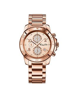Glam & soul rose gold chronograph watch