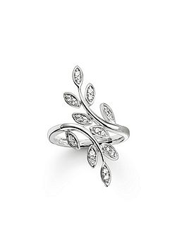 Fairy twines silver leaf ring