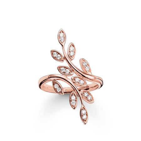 Thomas Sabo Fairy twines rose gold leaf ring